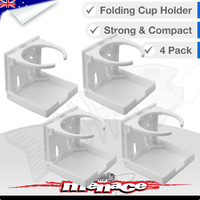 4 x White Folding Marine Boat Drink Cup Holder [PLASTIC]