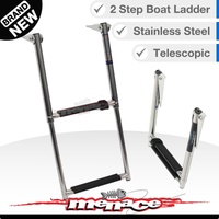 STAINLESS 2 Step Marine Grade Steel Telescopic Boat Ladder