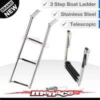 STAINLESS 3 Step Marine Grade Steel Telescopic Boat Ladder