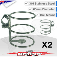 2 x 316 Stainless Steel Rail Mount DRINK CUP Holder 25mm [S/S]