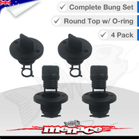 4 x Complete Boat Bung Set - Round Top - Black