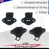 4 x Complete Boat Bung Set - Diamond Top - Black