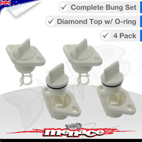 4 x Complete Boat Bung Set - Diamond Top - White