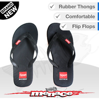 Mens Beach Thongs Flip Flops Sandals Boat Slippers - Black