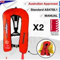 2 x Inflatable Life Jacket PFD 1 Level 150 - RED