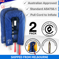 2 x Inflatable Life Jacket PFD 1 Level 150 - Blue (Economy Version)