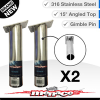 2 x Boat Rod Holder - 316 Stainless Gimble Pins - 15° Degree Angled