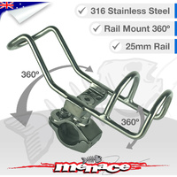 316 Stainless Steel Adjustable Rail Mount ROD Holder [25mm]