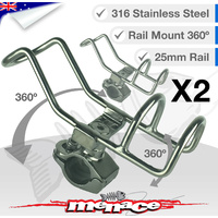 2 x 316 Stainless Steel Adjustable RAIL MOUNT ROD Holder [25mm]