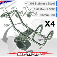 4 x 316 Stainless Steel Adjustable RAIL MOUNT ROD Holder [25mm]