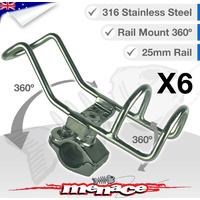 6 x 316 Stainless Steel Adjustable RAIL MOUNT ROD Holder [25mm]