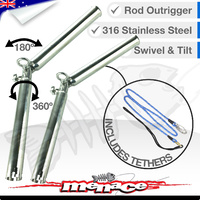 2 x 316 Stainless Steel Outrigger Rod Holder with Tether