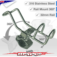 2 x 316 Stainless Steel Adjustable RAIL MOUNT Rod Holder [32mm]