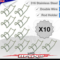 10 x Double Wire Rod Holder  - 316 Stainless Steel