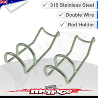 2 x Double Wire Rod Holder  - 316 Stainless Steel