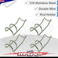4 x Double Wire Rod Holder  - 316 Stainless Steel