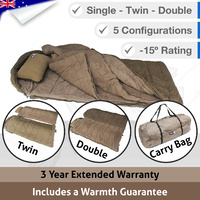5 in 1 Double Outdoor Camping Sleeping Bag Thermal Winter Twin -15°C XL