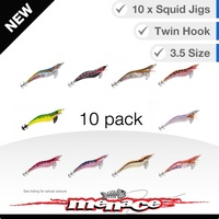 10 Pack Assorted Squid Jigs - Size 3.5