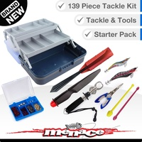 139 Piece Fishing Tackle Box Kit - Dual Tray - Blue