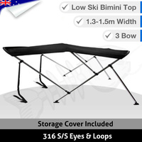 Low Ski Boat 3 BOW 1.3M-1.5M Bimini Top Boat Canopy Cover