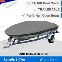 Premium Heavy Duty 600D 14-16ft 4.2-4.8M Marine Grade Trailerable Boat Cover OB