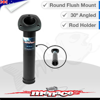 Flush Mount 30° ANGLED ROUND Boat Rod Holder - BLACK