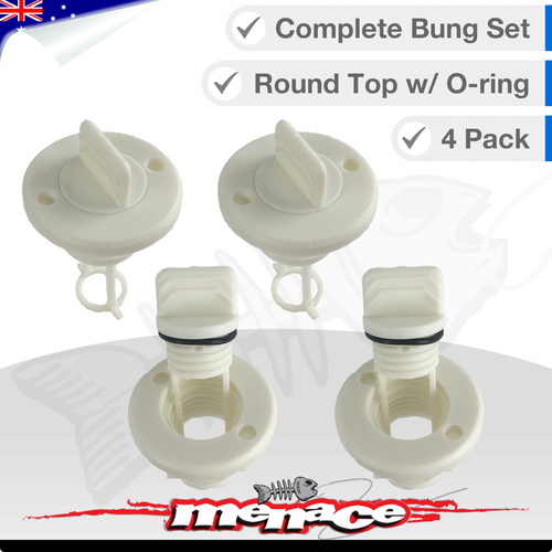 4 x Complete Boat Bung Set - Round Top - White