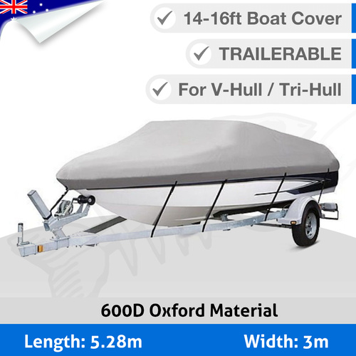 Premium Heavy Duty 600D 14-16ft 4.2-4.8M Marine Grade Trailerable Boat Cover RB