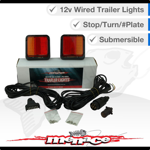 2 x Trailer 12 Volt LED Marine Boat Trailer Tail Lights Wired Complete Kit